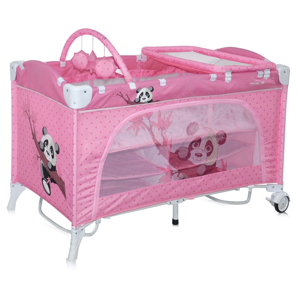 Манеж-кровать LORELLI Travel Kid 2 Rocker Pink Panda